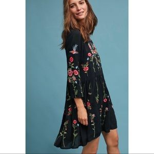 Anthropologie Maeve floral embroidered dress Sz XL